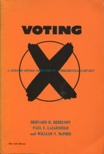 Berelson, B.R., Lazarsfeld, P.F. & McPhee, W.N. (1954 / 1966). Voting. A Study of Opinion Formation in a Presidential Campaign. Chicago, London: The University of Chicago Press. S. 278.
